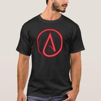 Camiseta Da letra escarlate do símbolo do ateu
