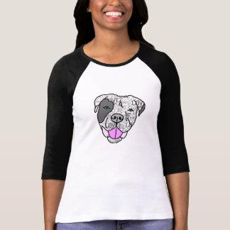 Camiseta da luva do gráfico 3/4 do amor do pitbull