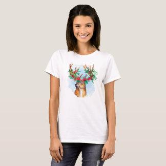 Camiseta da rena do Natal da aguarela