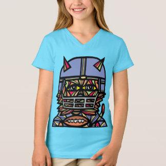 """Camiseta Da """"t-shirt do V-Pescoço das meninas do Kat"""
