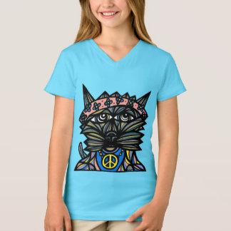 """Camiseta Da """"t-shirt do V-Pescoço das meninas do Kat paz"""""""