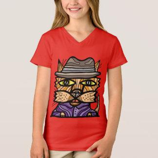 """Camiseta Da """"t-shirt do V-Pescoço"""" das meninas espertas rua"""