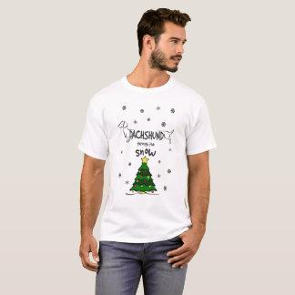 Camiseta Dachshund através do t-shirt do Natal da neve!