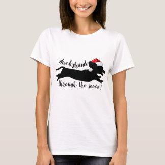 Camiseta Dachshund com os feriados do Natal da neve
