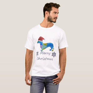Camiseta Dachshund do papai noel