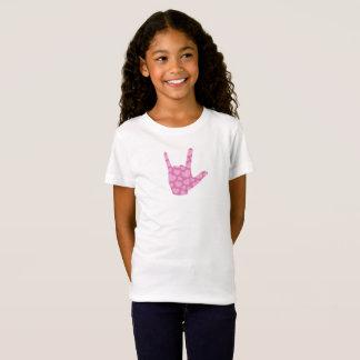 """Camiseta Das meninas cor-de-rosa dos corações do ASL """"eu te"""
