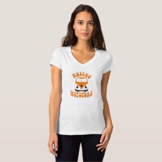 Camiseta das mulheres alaranjadas do ônibus dos hipsteres
