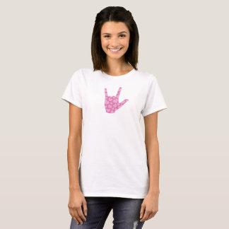 """Camiseta Das mulheres cor-de-rosa dos corações do ASL """"eu"""