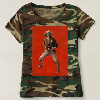 Camiseta Das mulheres de esqueleto do vaqueiro do vintage o