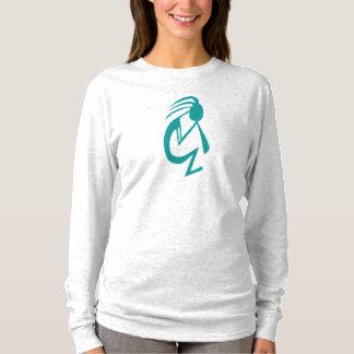 Camiseta Das mulheres longas da luva do ~ de Kokopelli da