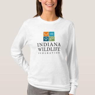 Camiseta Das mulheres longas da luva do logotipo de IWF o