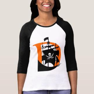 Camiseta Davis pirateia de t-shirt da luva de Raglan das