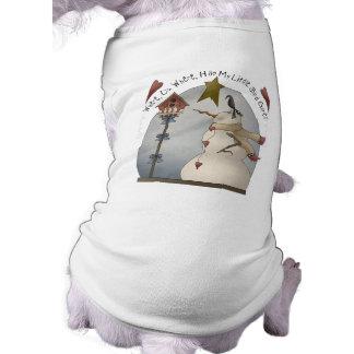 Camiseta de cão bonito do boneco de neve do Natal Camisa Sem Mangas Para Cachorro