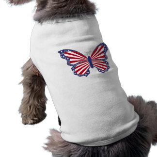 Camiseta de cão branca e azul vermelha patriótica