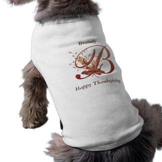 Camiseta de cão da letra B do monograma da acção d