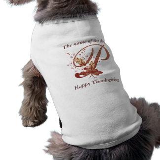 Camiseta de cão da letra P do monograma da acção d