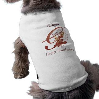 Camiseta de cão de G da letra do monograma da acçã