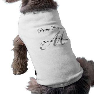 Camiseta de cão do casamento do portador de anel
