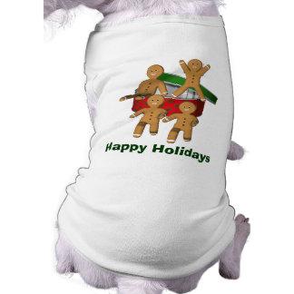 Camiseta de cão do feriado do Natal dos homens de