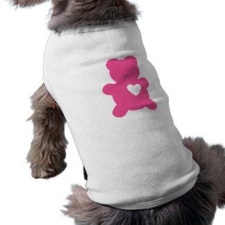 Camiseta de cão do ursinho do amor do rosa quente