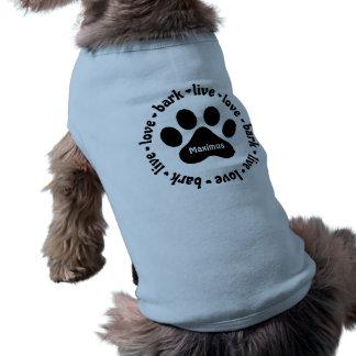 Camiseta de cão personalizada Pawprint viva do