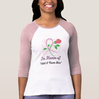 Camiseta De Raglan customizável da luva do cancro da mama