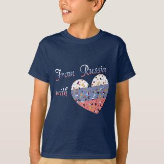 Camiseta De Rússia com coração do texto e do russo do amor