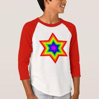 Camiseta De T do Raglan da luva dos meninos brilhantes de