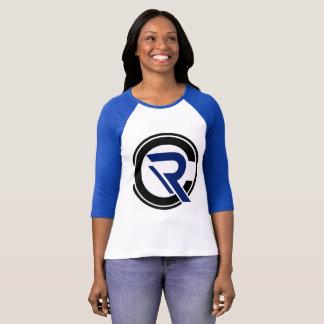 Camiseta De t-shirt azul do Raglan da luva das mulheres do