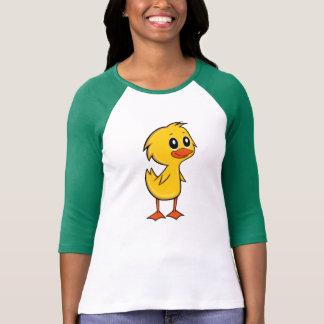Camiseta De t-shirt da luva das mulheres bonitos do pato