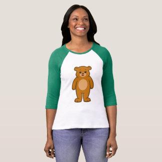 Camiseta De t-shirt da luva das mulheres felizes do urso
