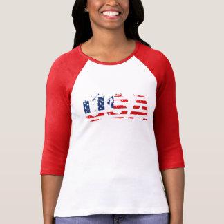 Camiseta De t-shirt do Raglan da luva das mulheres dos EUA