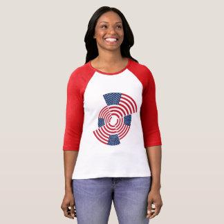 Camiseta De t-shirt do Raglan da luva das mulheres idosas