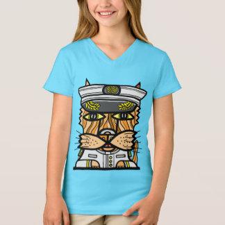 """Camiseta De """"t-shirt do V-Pescoço das meninas Kaptain Kat"""""""