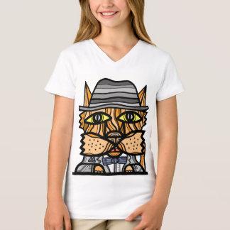 """Camiseta De """"t-shirt do V-Pescoço das meninas Klassy Kat"""""""