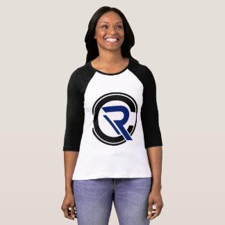 Camiseta De t-shirt preto do Raglan da luva das mulheres do