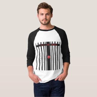 Camiseta De t-shirt preto e branco da luva dos homens 3/4