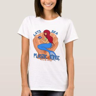 Camiseta Deixa o plástico do mar livre! Sereia azul