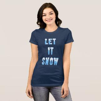Camiseta Deixais lhe para nevar arte nevado do texto do