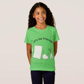 Camiseta Deixe-nos ser amigos, rocha, papel e tesouras