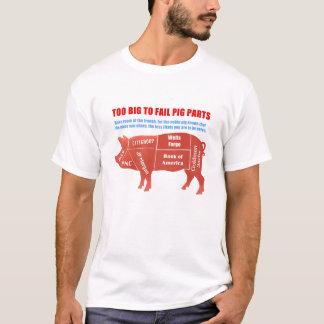Camiseta Demasiado grande para falhar o porco Parte-Branco