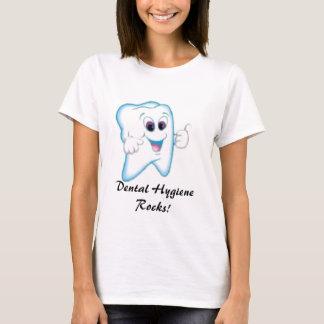 Camiseta dente feliz, rochas dentais da higiene!