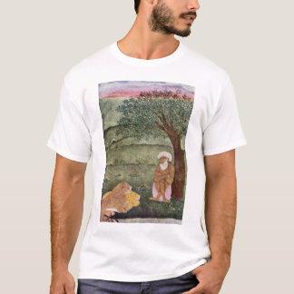 Camiseta Dervish com um leão e um tigre. Pintura de Mughal