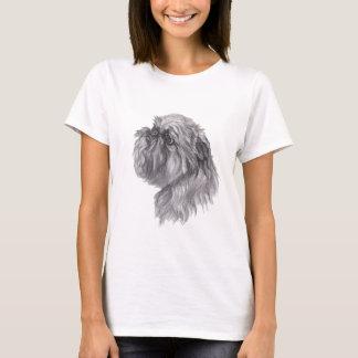 Camiseta Desenho da arte do carvão vegetal do cão de
