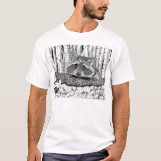 Camiseta Desenho da caneta e da tinta do guaxinim