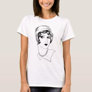 Camiseta desenho da forma da menina do Flapper do 1920
