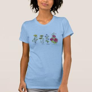 Camiseta Desenho da planta da aguarela da papoila do