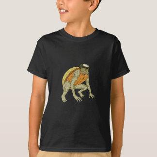 Camiseta Desenho de agachamento do monstro do Kappa