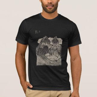 Camiseta desenho de carvão vegetal asiático da paisagem