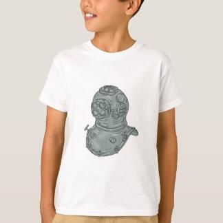 Camiseta Desenho do capacete do mergulho da velha escola